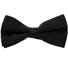 Black Satin Bow Tie and Pocket Square