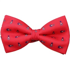 Red Bow Tie and Pocket Square with Blue Stirrup