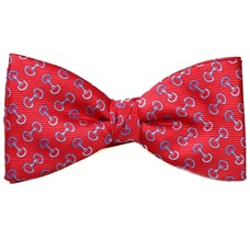 Red Bow Tie and Pocket Square with Designs Riding