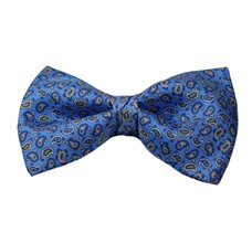 Royal Blue Bow Tie and Pocket Square with Blue Paisley