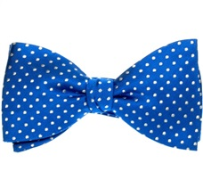 Royal Blue Silk Bow Tie and Pocket Square with Dots