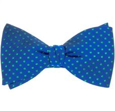 Royal Blue Bow Tie and Pocket Square Silk with Dots