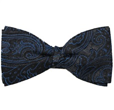 Grey Silk Bow Tie and Pocket Square with Black Paisley