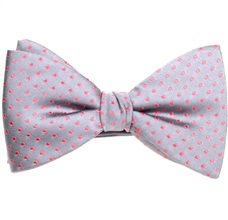 Grey Silk Bow Tie and Pocket Square with Pink Dots