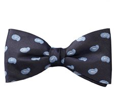 Grey Silk Bow Tie and Pocket Square with Sky Blue Paisley