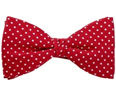 Red Silk Bow Tie and Pocket Square with White Dots