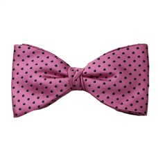 Pink Bow Tie and Pocket Square with Black Dots