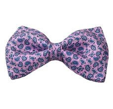 Pink Bow Tie and Pocket Square with Blue Paisley