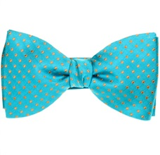Turquoise Silk Bow Tie and Pocket Square with Dots