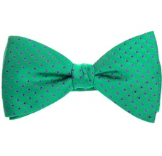 Green Silk Bow Tie and Pocket Square with Dots