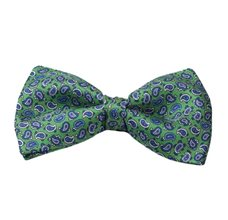 Green Bow Tie and Pocket Square with Blue Paisley