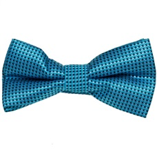 Turquoise Bow Tie and Pocket Square with Checks