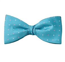 Turquoise Bow Tie and Pocket Square with Dots