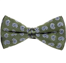 Green Bow Tie and Pocket Square with Paisley
