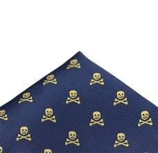 Blue Pocket Square with Skulls