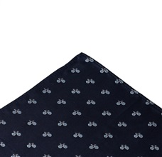 Dark Blue Pocket Square with Bicycles