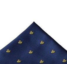 Blue Francia Pocket Square with Ducks