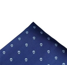 Dark Blue Pocket Square with Skulls