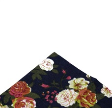 Dark Blue Pocket Square with Flowers
