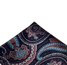 Blue Pocket Square Brown Paisley