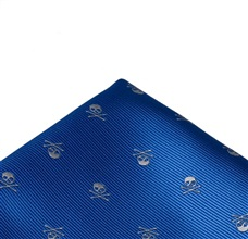 Royal Blue Pocket Square with Skull