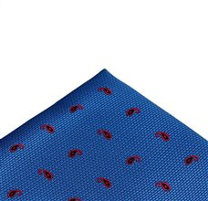 Royal Blue Pocket Square with Red Paisley