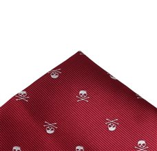 Burgundy Pocket Square with Skull
