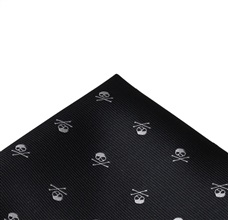 Black Pocket Square with Skulls
