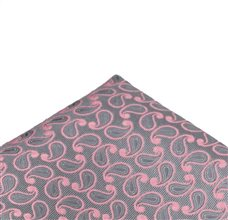 Pocket Square with Pink and Grey Paisley