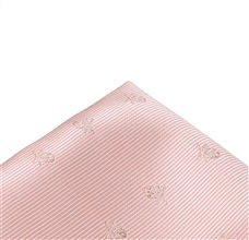 Salmon Pink Pocket Square with Skull
