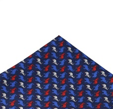 Blue Silk Pocket Square with Elephants