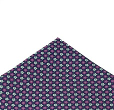 Blue Silk Pocket Square with Flowers