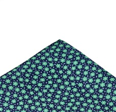 Blue Silk Pocket Square with Green Flowers