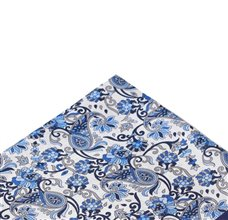 White Silk Pocket Square with Blue Paisley