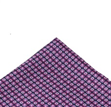 Blue Silk Pocket Square with Fuchsia Drawing