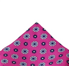 Fuchsia Silk Pocket Square with Flowers