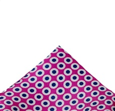 Fuchsia Silk Pocket Square with Blue Dots