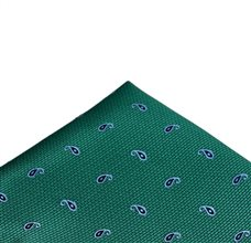 Green Pocket Square with Blue Paisley