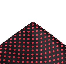 Black Pocket Square with Red Dots