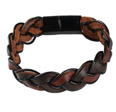 Black and Brown Plaited Leather Bracelet