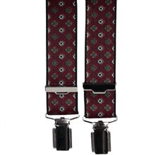 Burgundy Elastic Braces with Flowers Design
