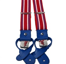 Red and Royal Blue Striped Skinny Elastic Braces