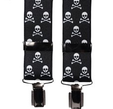 Black with Skull Elastic Braces