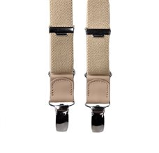 Boy's Beige Elastic Braces with Leather