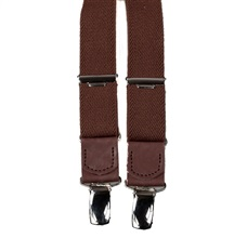 Boy's Brown Elastic Braces with Leather
