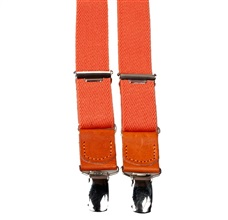 Boy's Orange Leather Elastic Braces