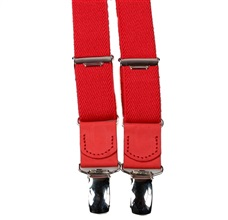 Boy's Red Elastic Braces Leather