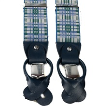 Blue and Green Checked Elastic Braces
