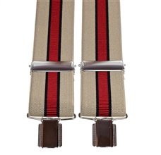 Beige and Garnet Striped Elastic Braces