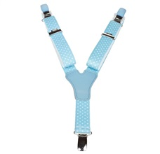 Boy's Sky Blue Elastic Braces with White Dots